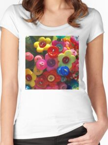 Button flower bouquet Women's Fitted Scoop T-Shirt