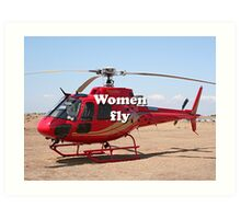 Women fly: Helicopter, red, aircraft Art Print