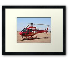 Women fly: Helicopter, red, aircraft Framed Print