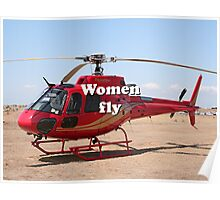Women fly: Helicopter, red, aircraft Poster