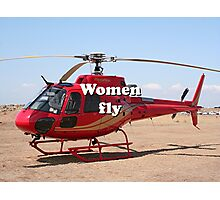 Women fly: Helicopter, red, aircraft Photographic Print