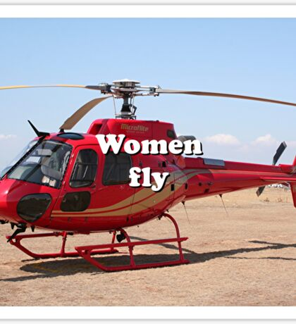 Women fly: Helicopter, red, aircraft Sticker