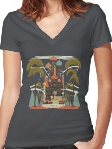 Ancient Indian Palace Women's Fitted V-Neck T-Shirt