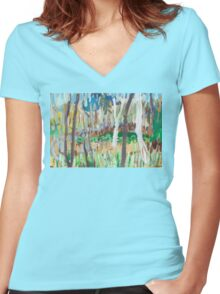 Water Lilies Through the Trees Women's Fitted V-Neck T-Shirt