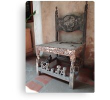Kenyan African antique carved chair Canvas Print