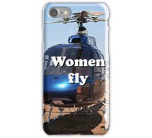 Women fly: Helicopter, blue, aircraft iPhone Case/Skin
