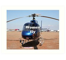 Women fly: Helicopter, blue, aircraft Art Print