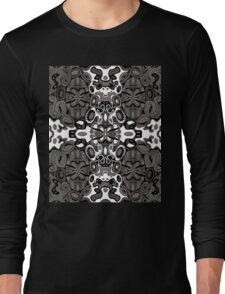 Miniature Aussie Tangle 13 Pattern in Grey and White Variation Long Sleeve T-Shirt