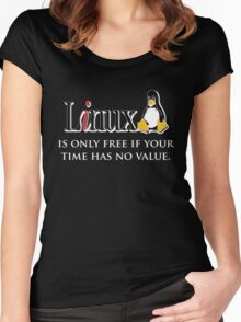Linux is only free if your time has no value Women's Fitted Scoop T-Shirt