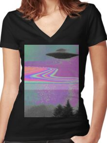 Psychedelic UFO Women's Fitted V-Neck T-Shirt