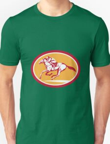 Jockey Riding Horse Racing Circle Retro T-Shirt