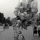 Two Young Girls with Balloons by John Douglas