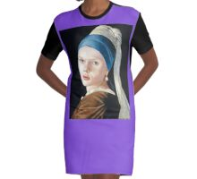 Scarlett Johansson with the pearl earring Graphic T-Shirt Dress