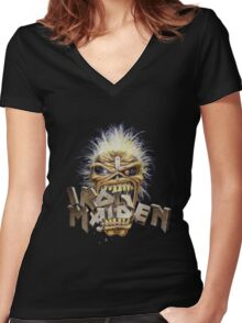 the iron maiden head hell Women's Fitted V-Neck T-Shirt