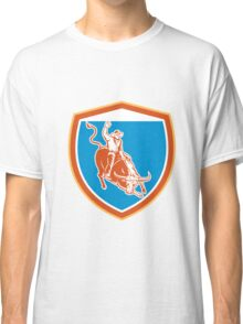 Rodeo Cowboy Bull Riding Shield Retro Classic T-Shirt