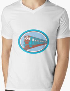 Passenger Train Front View Retro Mens V-Neck T-Shirt
