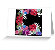 Black and Floral Pattern Greeting Card