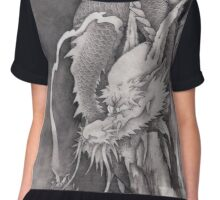 japanese ink painting cloud dragon  Chiffon Top