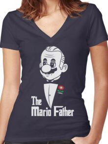 The Mario Father Women's Fitted V-Neck T-Shirt