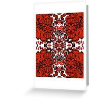 Miniature Aussie Tangle 13 in Black White and Red Greeting Card