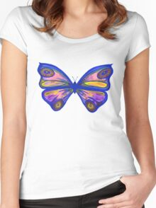 Watercolour Butterfly 1 Women's Fitted Scoop T-Shirt