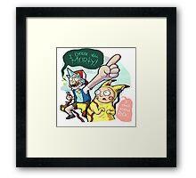 Rick And Morty Meet Pikachu Framed Print