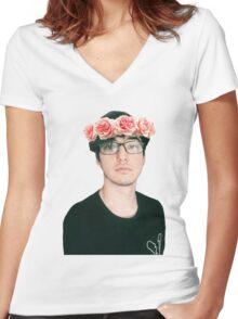 Joji Millier [Filthy Frank] Flower Crown Women's Fitted V-Neck T-Shirt