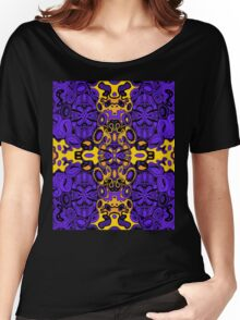 Miniature Aussie Tangle 13 Pattern in Purple and Gold Women's Relaxed Fit T-Shirt
