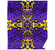 Miniature Aussie Tangle 13 Pattern in Purple and Gold Poster