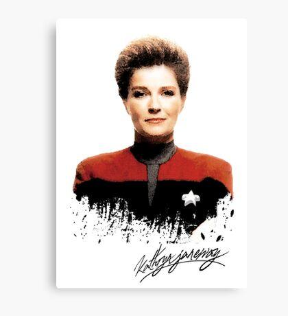 Star Trek Splatter Portrait - Janeway Canvas Print