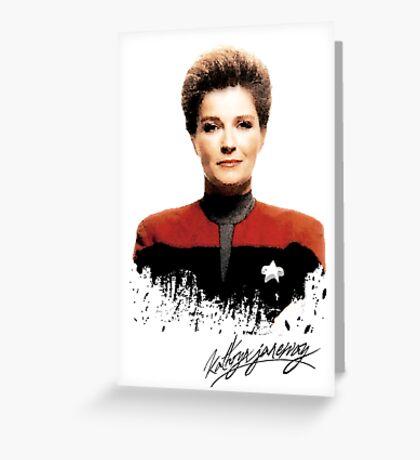 Star Trek Splatter Portrait - Janeway Greeting Card