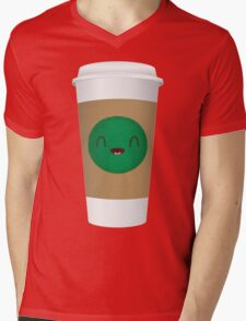Cheerful Coffee Cup Mens V-Neck T-Shirt