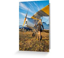 Tiger Moth And The Lady Greeting Card