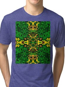 Miniature Aussie Tangle 13 Pattern in Green and Gold Colours Tri-blend T-Shirt
