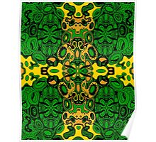 Miniature Aussie Tangle 13 Pattern in Green and Gold Colours Poster