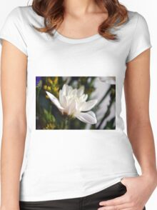 White flower macro. Women's Fitted Scoop T-Shirt