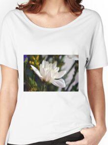 White flower macro. Women's Relaxed Fit T-Shirt