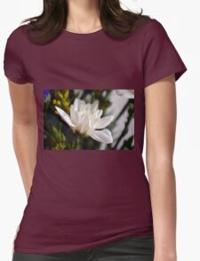 White flower macro. Womens Fitted T-Shirt