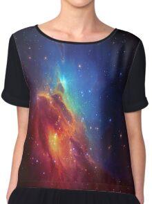 Star Nebula Space - Deep Blue Chiffon Top