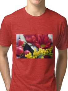 Watercolor style painted colorful flowers. Tri-blend T-Shirt