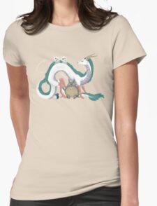 Haku, Totoro, and Tree Spirits  Womens Fitted T-Shirt