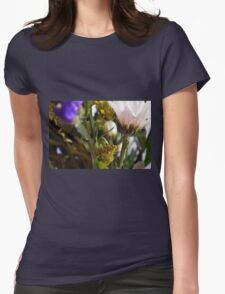 Natural background with flowers and green leaves. Womens Fitted T-Shirt