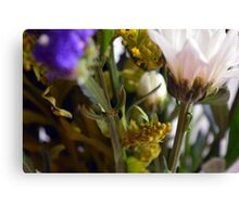 Natural background with flowers and green leaves. Canvas Print