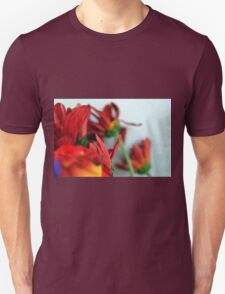 Natural composition with red petals. Unisex T-Shirt