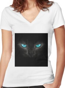 Cat turquoise eyes Women's Fitted V-Neck T-Shirt