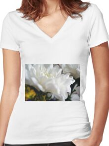 White flower macro. Women's Fitted V-Neck T-Shirt