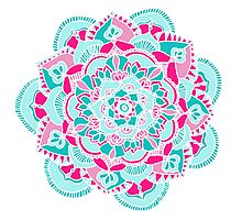 Hot Pink & Teal Mandala Flower Photographic Print