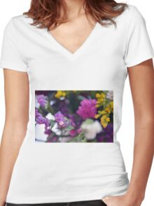 Watercolor style painted colorful flowers. Women's Fitted V-Neck T-Shirt