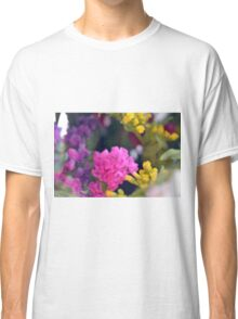 Watercolor style painted colorful flowers. Classic T-Shirt