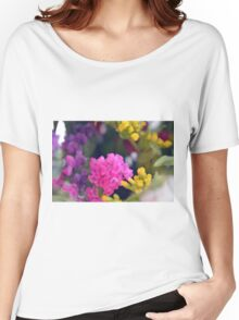 Watercolor style painted colorful flowers. Women's Relaxed Fit T-Shirt